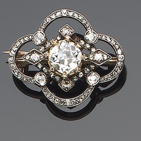 A late 19th century diamond brooch,