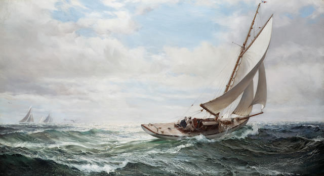 Montague Dawson (British, 1895-1973) Wind a beam 50.8 x 91.4cm. (20 x 36in.)