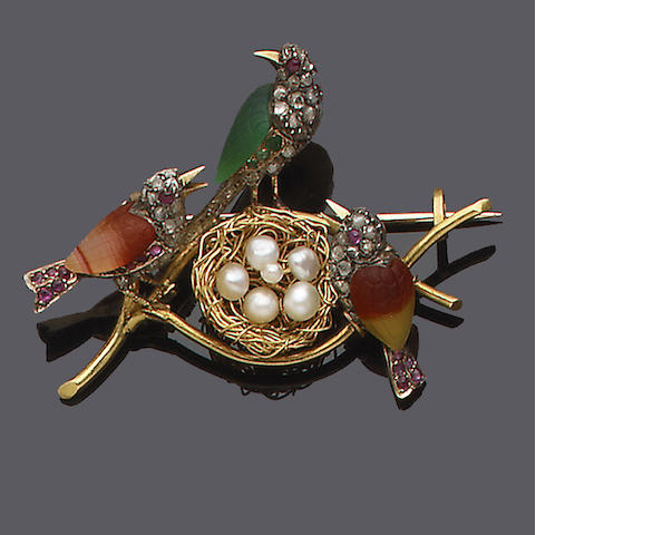 A late 19th century gold, diamond and gem-set novelty brooch,