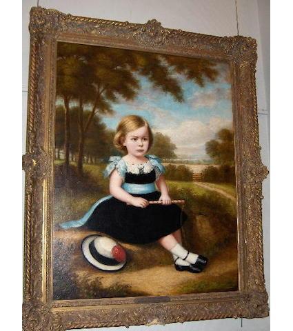 Follower of William Daniels (1813-1880) A portrait of Mistress Walmsley, seated in a landscape 112 x 87cm.