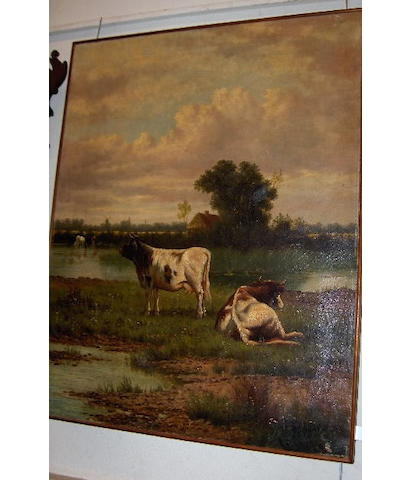 E*J*Wainewright (Later 19th Century) Cattle watering in a river landscape 91 x 72cm