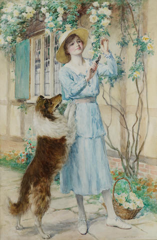 William Henry Margetson (British, 1861-1940) Cutting roses 65.5 x 43 cm. (25 3/4 x 17 in.)