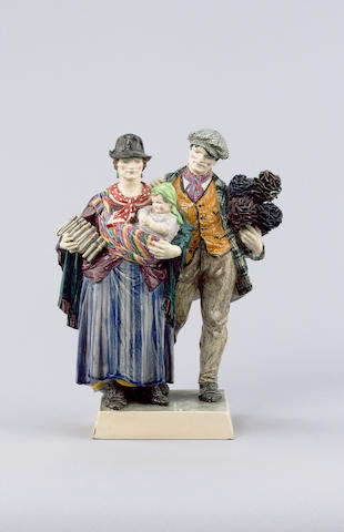 Charles Vyse 'The Gypsies' a Pottery Figural Group, 1925
