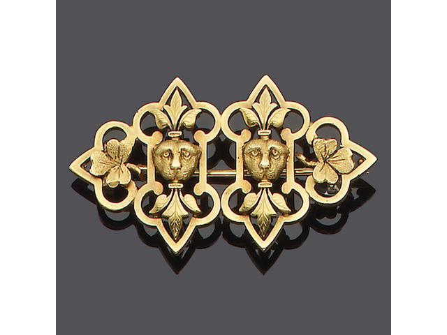 A mid Victorian gold demi-parure,