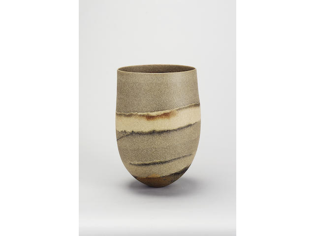 Jennifer Lee 'Smokey Pot, Sand-grained band, haloed trace, rust flash', 2000 Height 35cm (13 3/4in.)