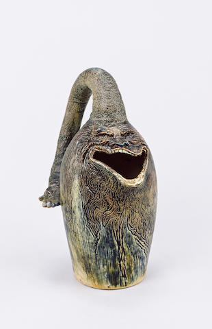 Martin Brothers A Rare Stoneware Grotesque Spoon Warmer, 1883