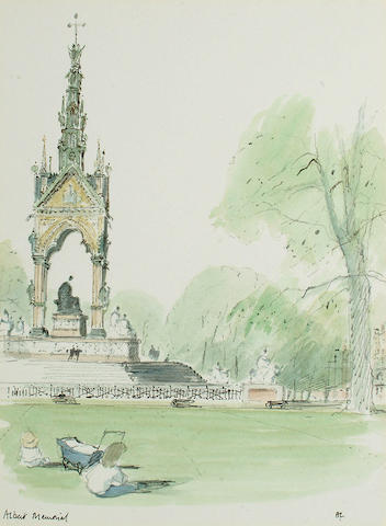 Hugh Casson PRA (British, 1910-1999) 'Albert Memorial', 29.3 x 21.7cm (11 1/2 x 8 1/2in)