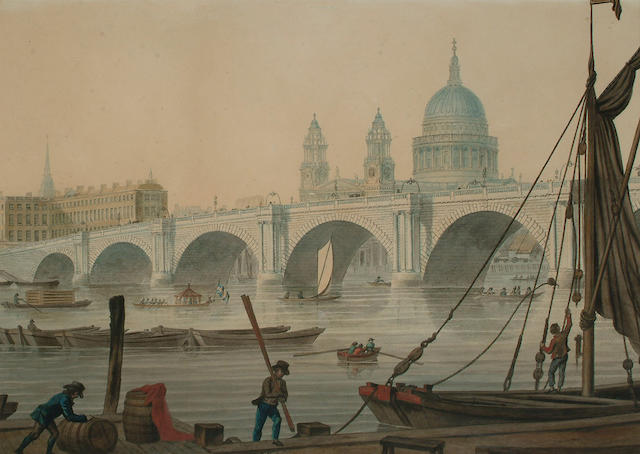 Attributed to Thomas Malton Jnr. Blackfriars Bridge with St Paul's Cathedral beyond, 30.5 X 42.2cm (12 X 16 3/4in)