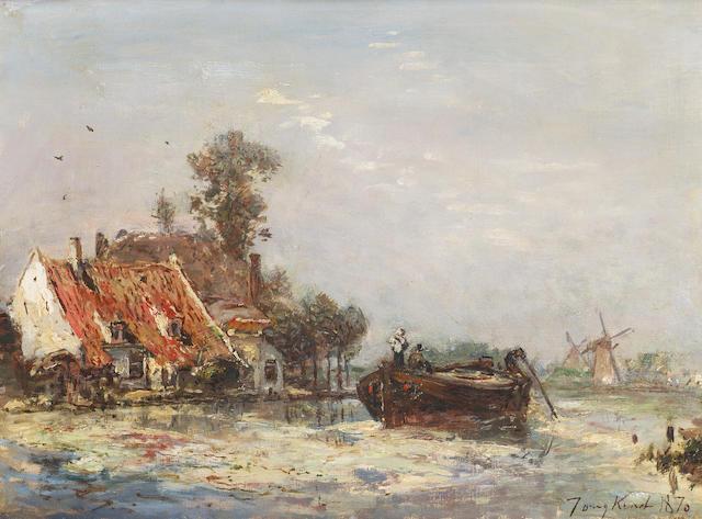 Johan Barthold Jongkind (1819-1891) La Rivière près de Rotterdam 24.5 x 33 cm. (9 5/8 x 13 in.)