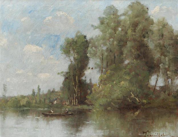 Paul Désiré Trouillebert (1829-1900) Le passeur et sa passagère 32.5 x 41 cm. (12 3/4 x 16 1/8 in.)