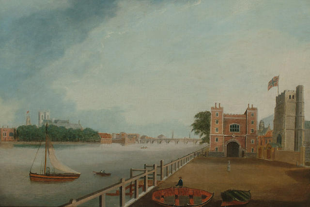 Daniel Turner (British, fl.1782-1817) The Thames at Lambeth with a view towards Westminster Bridge, 38.7 x 57cm (15 1/4 x 22 3/8in)