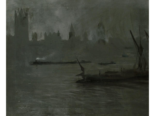 Walter Greaves (British, 1846-1930) Houses of Parliament 64 x 75cm (25 1/4 x 29 1/2in)