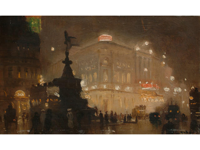 George Hyde Pownall (British/Australian 1876-1932) 'The Circus, Piccadilly', 15 x 23.5cm (6 x 9 1/4 in)