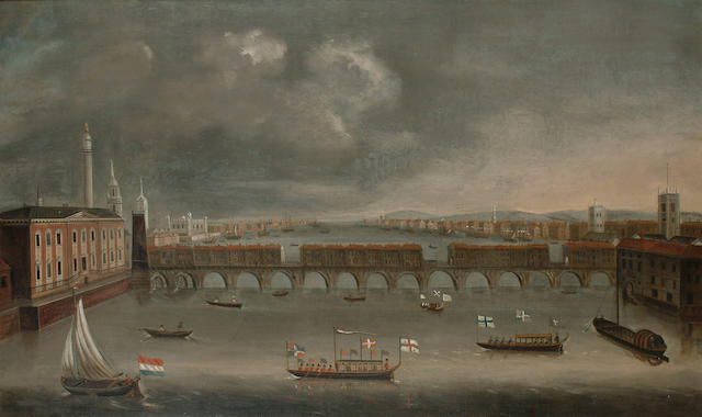 Circle of Daniel Turner The Thames at Old London Bridge with barges and fishing vessels, 61.5 x 101.2cm. (24¼ x 39 7/8in.)