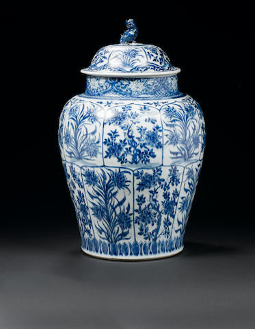 A fine and large pair of blue and white baluster jars and covers Kangxi