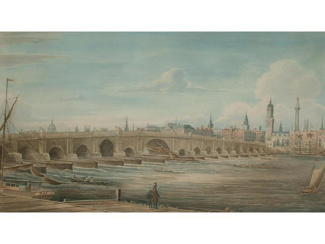 Gideon Yates (British, 1790-1837) London Bridge from Chamberlain's Wharf, Tooley Street, 31 x 54.5cm (12 1/8 x 21 3/8in)