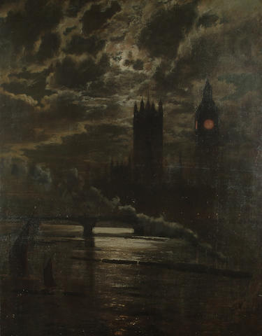 Leonidas Clint Miles (British, fl. 1858-1883) The Palace of Westminster from the Thames by moonlight, 134 x 103.5cm (52 3/4 x 40 3/4in)