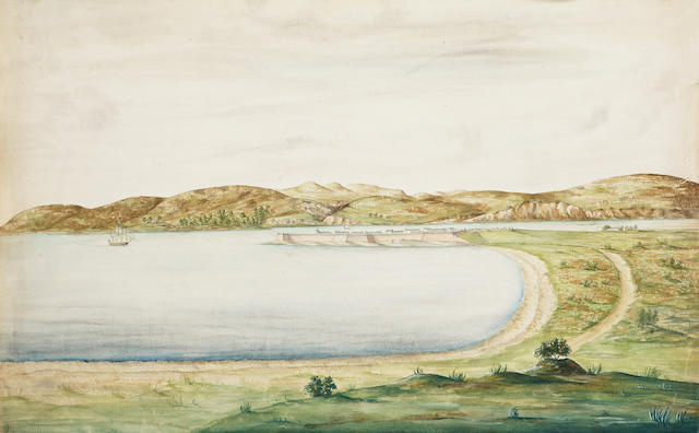 Richard Williams (British, c.1750-1776) Fort George near Inverness 35.6 x 52.1 cm. (14 x 20 1/2 in.) within a leather bound album containing views of Britain and the Continent by the same hand, unframed, (qty).