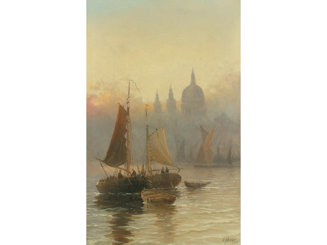 Edwin Fletcher (British, 1857-1945) St Paul's from the Thames; Westminster from the Thames, each 60 x 37cm (23 5/8 x 14 5/8in) (2)