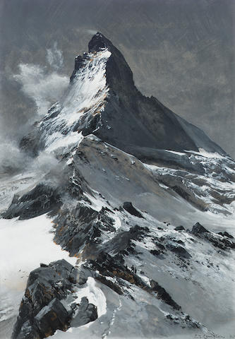 Edward Theodore Compton (British, 1849-1921) The Matterhorn 34.5 x 24 cm. (13 1/2 x 9 1/2 in.)