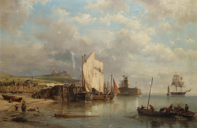 Hermanus Koekkoek, Snr. (Dutch 1815-1882) A harbour scene at low tide 66 x 100.5 cm.(26 x 39 1/2 in.)