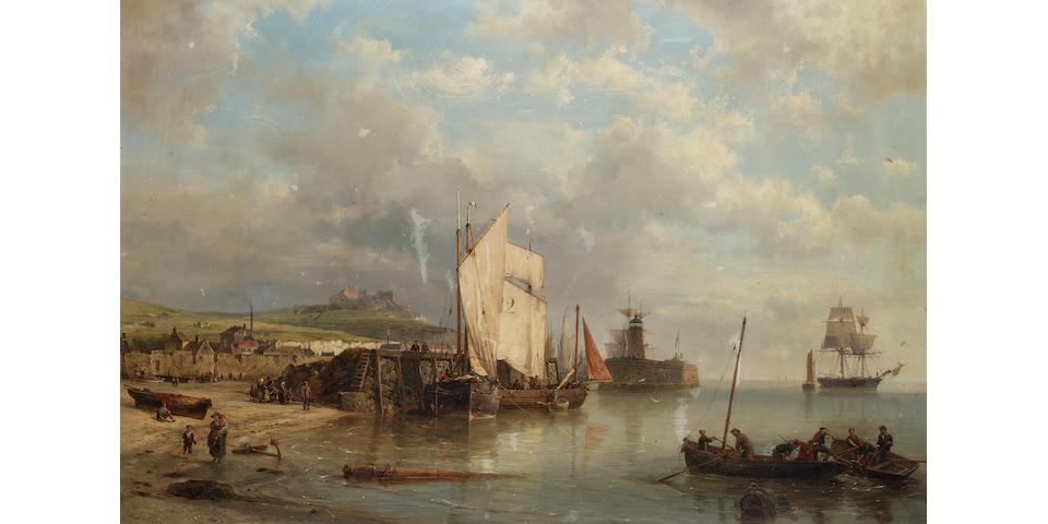 Hermanus Koekkoek, Snr. (Dutch 1815-1882) A harbour scene at low tide 66 x 100.5 cm.(26 x 39 1/2 in.)