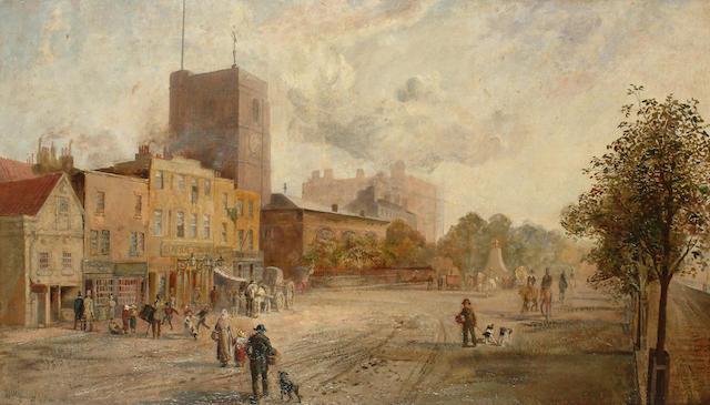 William Keeling (British, 1807-1886) Figures on Cheyne Walk with Chelsea Old Church, 50.7 x 85.7cm (19 7/8 x 33 5/8in)
