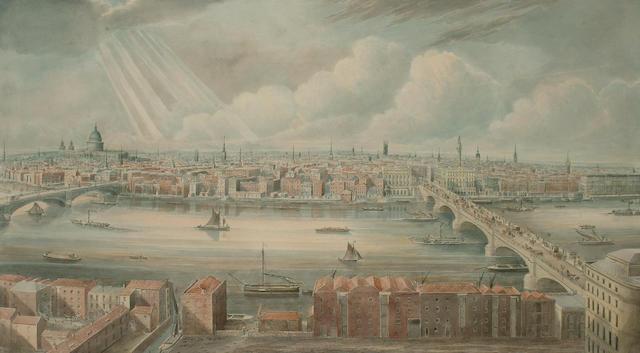 Gideon Yates (British, 1790-1837) London from the tower of St. Saviour's Church, Southwark, 34 x 61cm (13 3/8 x 24in)