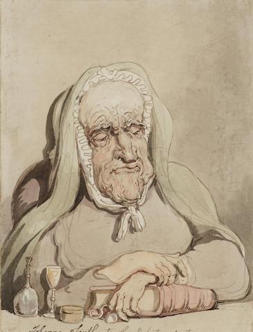 Thomas Rowlandson (British, 1756-1827) Portrait of Joanna Southcote 19.5 x 15 cm. (7 3/4 x 6 in.)