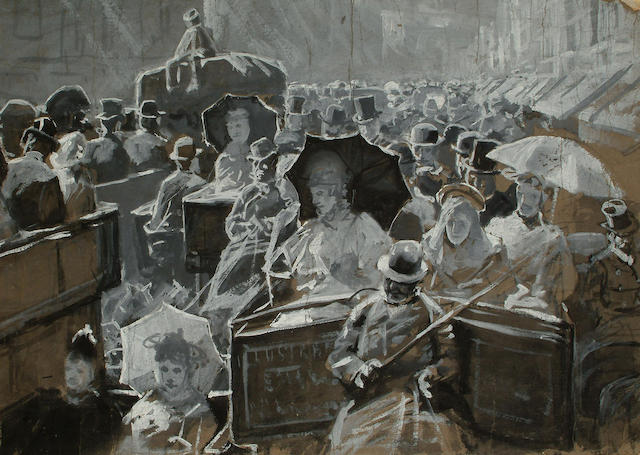 Attributed to Lucien Davis (British, 1860-1941) Rush Hour, Piccadilly, 33.5 x 47cm (13 1/4 x 18 1/2in)
