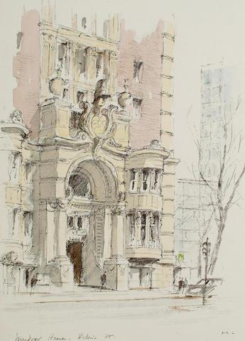Hugh Casson PRA (British, 1910-1999) 'Windsor House - Victoria St.', 50.7 x 40.6cm (19 7/8 x 15 7/8in)
