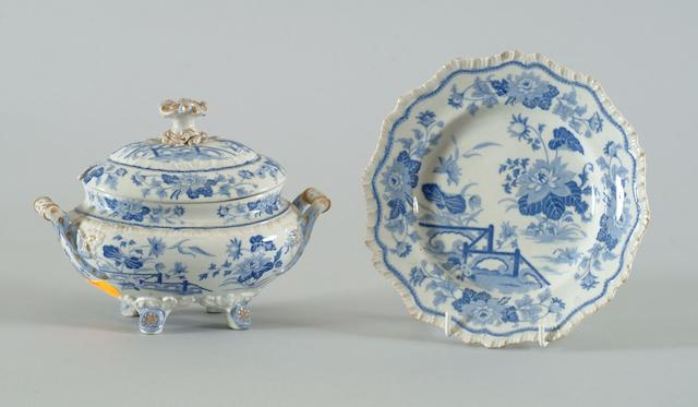 A John Ridgway & Co Stone China blue and white printed dinner service