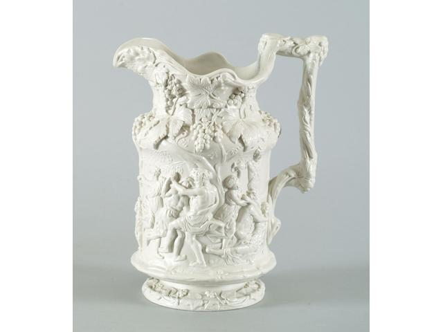 A Victorian relief moulded stoneware 'Bachanalian Dance' jug,