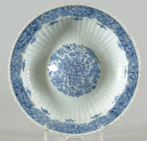 A Chinese blue and white rosewater dish