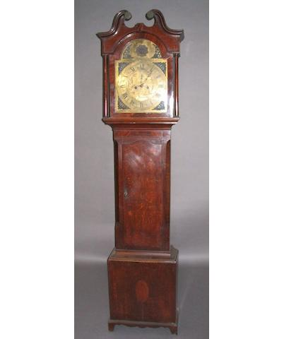 A composite George III oak, mahogany and inlaid longcase clock,