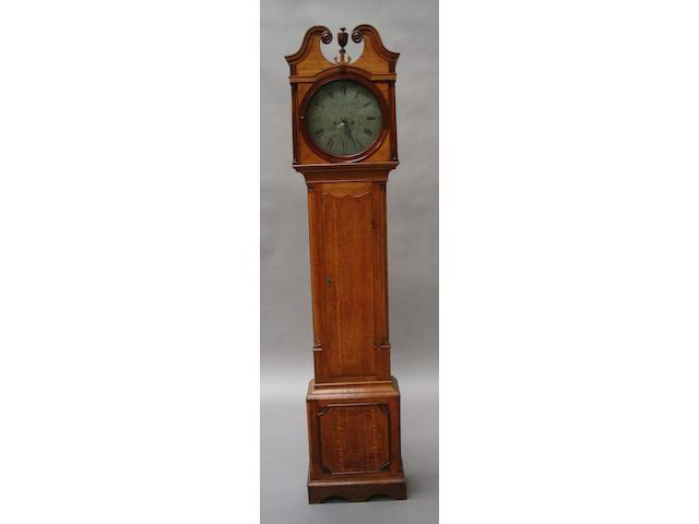 A late George III oak and mahogany longcase clock,