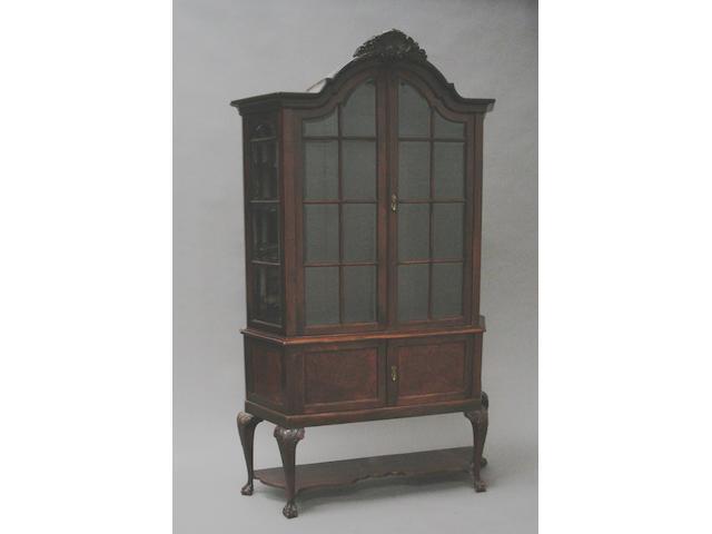 An 18th century design walnut display cabinet,