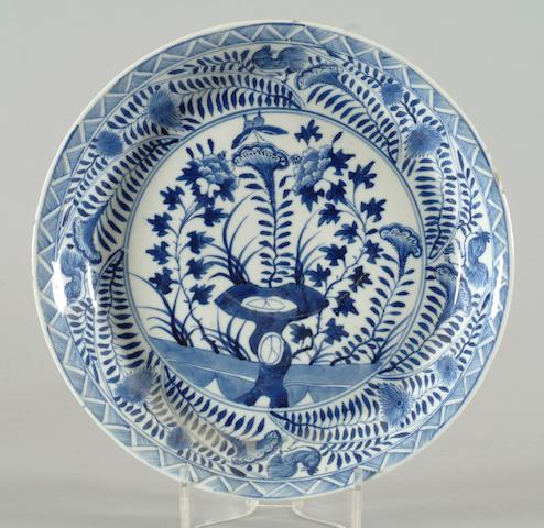 A Chinese blue and white circular dish
