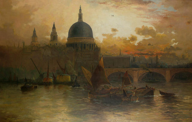 Edwin Fletcher (British, 1857-1945) St Paul's from the Thames at sunset, 98.5 x 150cm (38 3/4 x 59in)