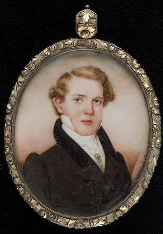 George Catlin, James Perriman, wearing brown coat with black velvet collar, cream striped waistcoat, white shirt and cravat with jewelled pin