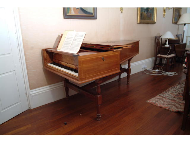 A contemporary mahogany cased harpsichord by Robert Morley & Co.