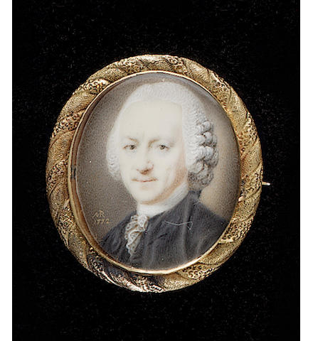 Joseph Marinkelle, Mr van Lilaar, wearing black coat, white lace cravat and powdered wig with side-buckles worn en queue
