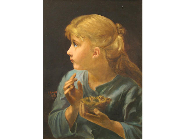 A. Knight Young girl holding birds nest with chicks, 58 x 42cm.