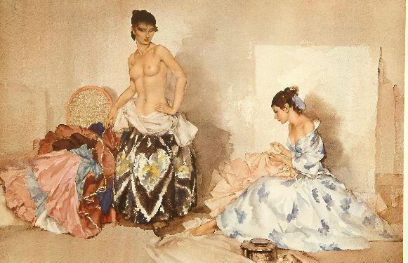 Sir William Russell Flint (1880-1969) 'Studio Accessories' 36.5 x 54cm.