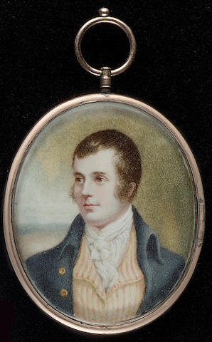 After Alexander Nasmyth, Robert Burns (1759-96), wearing blue coat, striped yellow and white waistcoat and white cravat