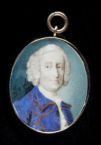 Gervase Spencer, A Gentleman, wearing gold-edge Royal blue coat, white waistcoat, frilled chemise and powdered wig worn en queue