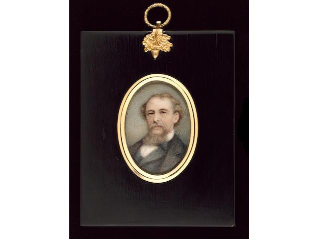 Walter Saunders Barnard, Charles Dickens (1812-70), wearing grey coat, dark blue waistcoat and white chemise