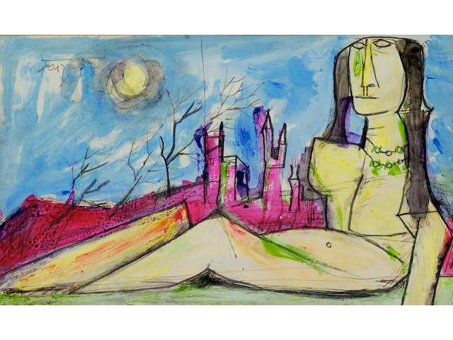 Francis Newton Souza (India, 1924-2002) Nude in a Landscape