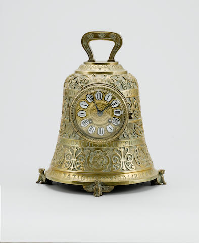 A second half of the 19th Century French cast brass mantel clock in the form of a bell, the movement by Japy Freres