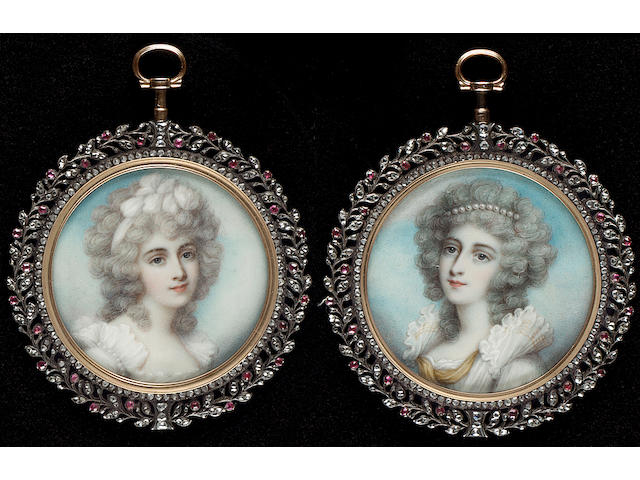 A pair of rose-cut diamond and ruby portrait miniature frames, gold-mounted with pierced silver foliate border set with rose-cut diamonds and rubies, containing two portraits of Ladies, both wearing white dresses, their powdered hair dressed with pearls and a white bandeau, After Richard Cosway R.A., 19th Century